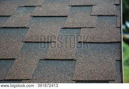 A Close-up A Roof Covered With Copper Brown Bitumen, Asphalt Laminated, Dimensional, Or Architectura