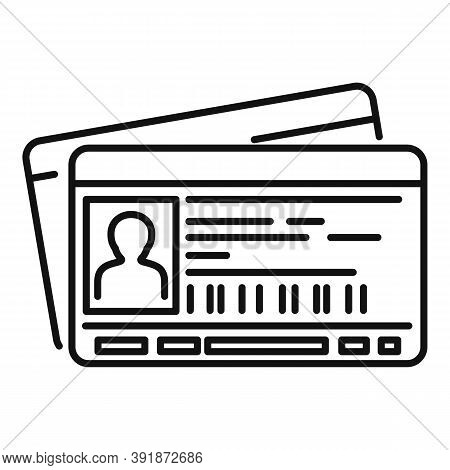 Id Passport Card Icon. Outline Id Passport Card Vector Icon For Web Design Isolated On White Backgro