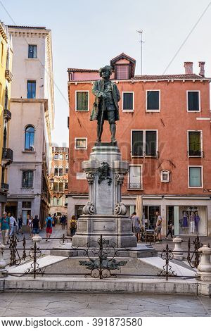 Venice, Italy - Jun 30, 2020: The Statue Of The Great Venetian Playwright Carlo Goldoni On The Piazz