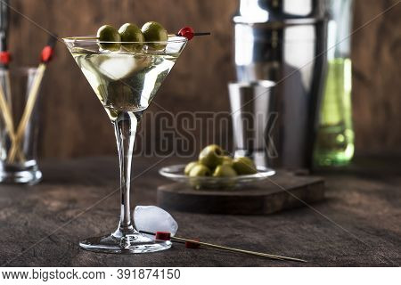 Martini Vodka Cocktail, With Dry Vermouth, Vodka And Green Olives, Bar Tools, Vintage Wood Counter,