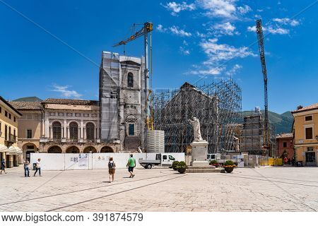 Norcia, Italy - Jul 02, 2020: The Historic Center Of Norcia City At July 2020 After The Earthquake O