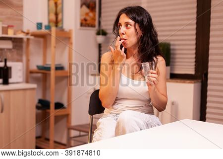 Woman Looking At Husband While Licking A Dose Of Cocaine. Amphetamine Abuse With Side Effects Suffer