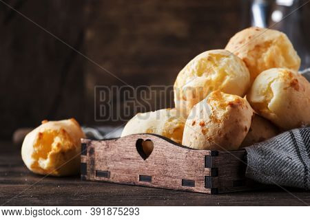 Delicious Homemade Golden Cheese Savory Buns In Tray, Vintage Wooden Rustic Table Background, Select