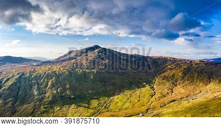 Aerial View Of The Bluestack Mountains Viewing Towards Carnaween In Donegal - Ireland