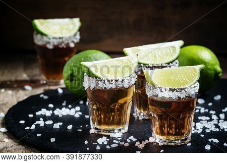 Mexican Tequila In Shot Glasses, Selective Focus