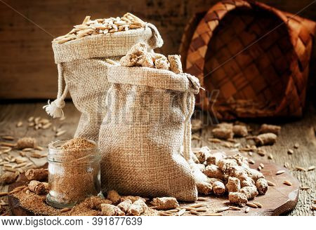 Healthy Oat Bran In Canvas Bags, Vintage Wooden Background, Selective Focus