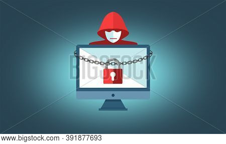 Ransomware Concept With Hooded Hacker - On-line Security