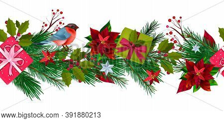 Winter Christmas Seamless Border With Bullfinch, Gift Boxes, Fir Branches, Holly, Berries. X-mas Hol