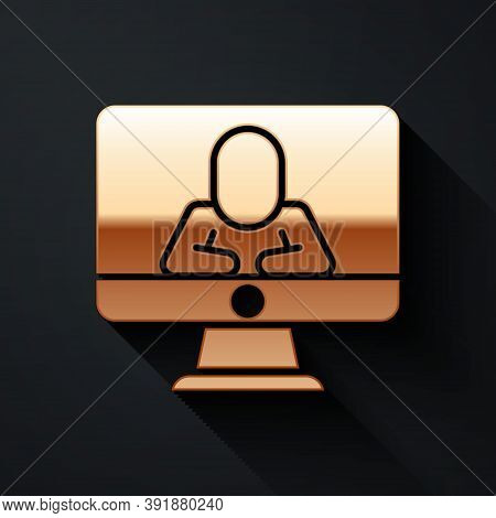 Gold Online Psychological Counseling Distance Icon Isolated On Black Background. Psychotherapy, Psyc
