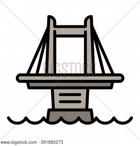 City Bridge Icon. Outline City Bridge Vector Icon For Web Design Isolated On White Background