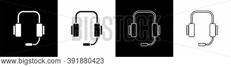 Set Online Psychological Counseling Distance Icon Isolated On Black And White Background. Psychother