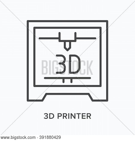 3d Printer Flat Line Icon. Vector Outline Illustration Of Prototype Printing. Plastic Manufacturing