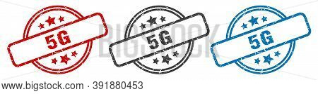 5g Stamp. 5g Round Isolated Sign. 5g Label Set