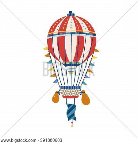 Hand Drawn Vintage Flying Aerostat. Colorful Striped Hot Air Balloon Isolated On White Background. A