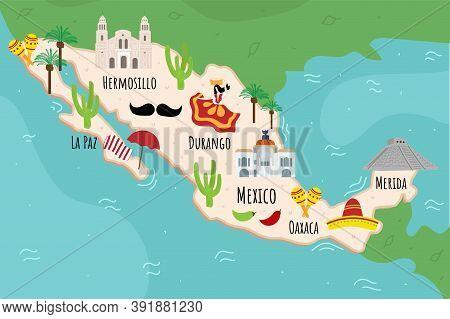 Cartoon Map Of Mexico. Travel Illustration With Maracas, Sombrero, Pyramid Landmarks, Buildings, Foo