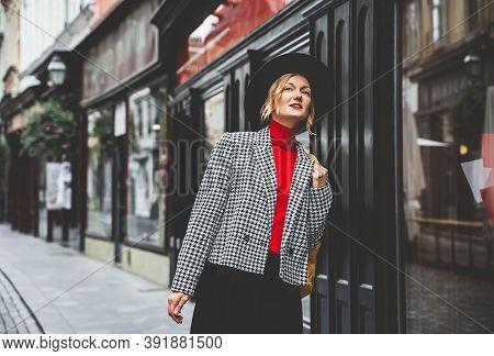 Street Look Of Tourist Woman In Ljubljana. Travel To Europe.