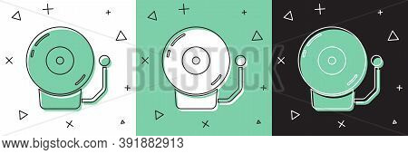 Set Ringing Alarm Bell Icon Isolated On White And Green, Black Background. Alarm Symbol, Service Bel