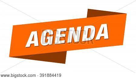 Agenda Banner Template. Agenda Ribbon Label Sign