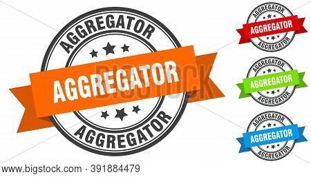 Aggregator Stamp. Round Band Sign Set. Label