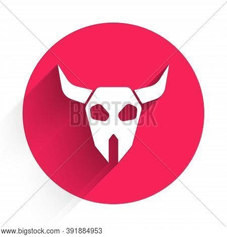 White Buffalo Skull Icon Isolated With Long Shadow. Red Circle Button. Vector