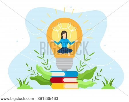 Brainstorming Concept Illustration. Young Woman Meditated In The Light Bulb. Process Of Creativity O