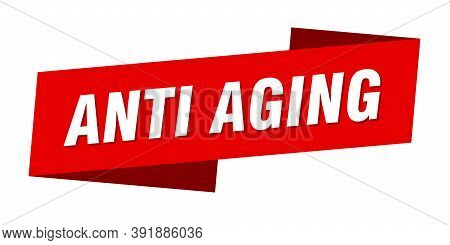 Anti Aging Banner Template. Ribbon Label Sign. Sticker