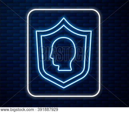 Glowing Neon Line User Protection Icon Isolated On Brick Wall Background. Secure User Login, Passwor