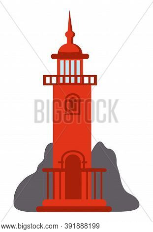 Red Lighthouse Icon Isolated At White. Navigation Building For Ships, Cartoon Vector Lighthouse. Bea