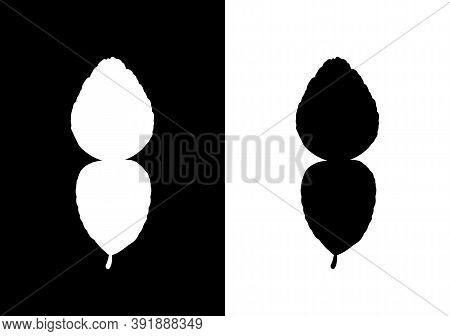 Kaffir Lime Leaf, Black And White Vector Silhouette - Vector