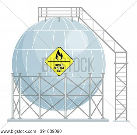 Spherical Gas Station, Gas Tank, Storage Tank With Stairs And Metal Construction. Danger Explosive G