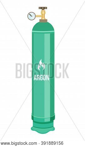 Isolated At White Background Gas Cylinder With Argon. Compressed Gas Into Container Under High Press