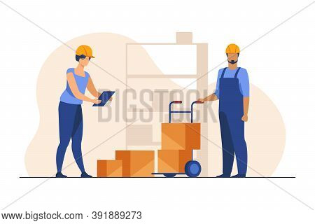 Storehouse Workers Keeping Records Of Boxes. Warehouse Employees In Helmets With Packages Flat Vecto
