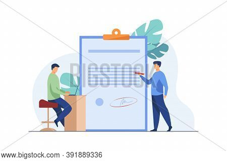 Expert Checking Business Leader Order. Tiny Character With Pencil Reading Document Flat Vector Illus