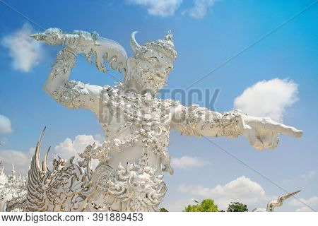 Délicates Statues In Wat Rong Khun - The White Temple, Chiang Rai Province, Thailand.  This Famous D