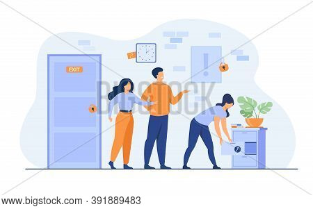 Team Of Friends Looking For Key, Searching Treasure Or Exit From Quest Room With Locks. Vector Illus