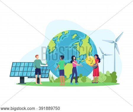 Vector Illustration Clean Energy Concept. Renewable Energy For Better Future. People With Environmen