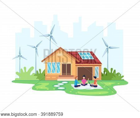 House With Clean Energy Concept. Eco Friendly House Solar And Wind Power. Alternative Energy Concept