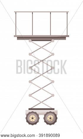 Vector Icon In Cartoon Style Of Scissors Lift Or Platform Lifting Isolated At White Background. Icon