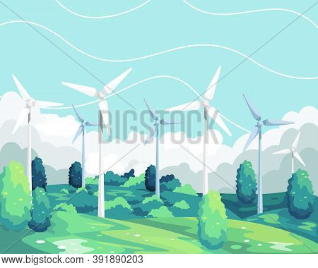 Vector Illustration Wind Turbine Renewable Energy. Wind Turbine Scenic Landscape, Green And Environm