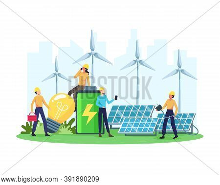 Vector Illustration Renewable Energy Concept. Renewable Electric Power Station With Solar Panels And