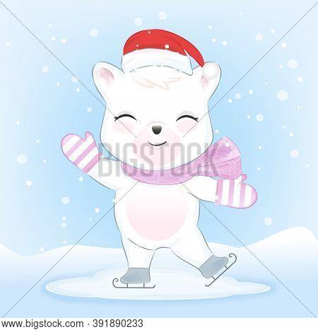 Polar Bear On Ice Skates In Snow Hand Drawn Watercolor Style, Christmas, Winter Season Concept
