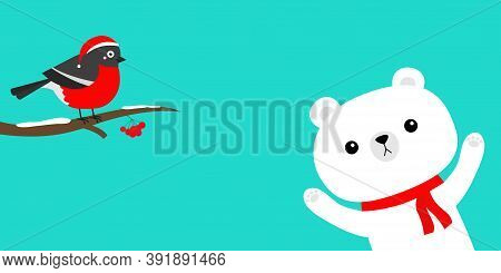 Bulfinch Bird On Snow Tree Brunch. White Polar Bear In Red Scarf. Merry Christmas. Happy New Year. H