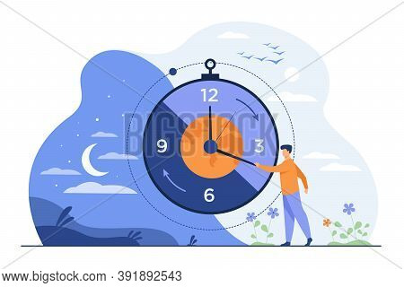 Man Moving Clock Arrows And Managing Time. Planet, Night And Day In Background. Vector Illustration