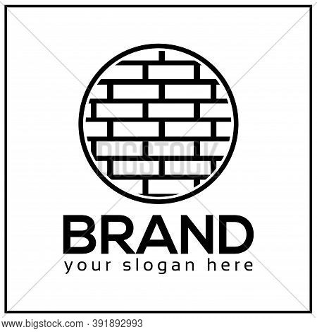 Brick Logo Icon. Circle Brick. Vector Illustration On White Background.