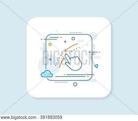 Swipe Up Down Line Icon. Abstract Square Vector Button. Move Finger Sign. Touch Technology Symbol. S