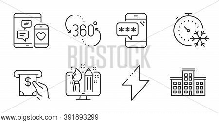 Phone Password, Freezing Timer And Energy Line Icons Set. Social Media, Atm Service And 360 Degree S