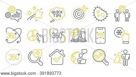Set Of Science Icons, Such As Analytics, Bacteria, 360 Degree Symbols. Quick Tips, Freezing Click, O