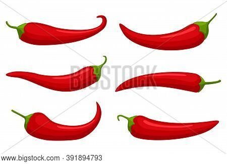 Hot Red Chilly Peppers Set Isolated On White Background, Cartoon Mexican Chilli, Paprika Icon Signs.