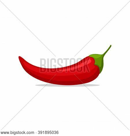 Hot Red Chilly Pepper Isolated On White Background, Cartoon Mexican Chilli, Paprika Icon Sign. Food