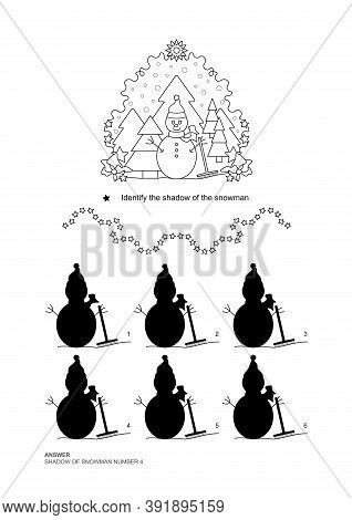 The Shadows Game. Snowman And Fir Forest, Falling Snow. Christmas Theme. Educational Matching Game.